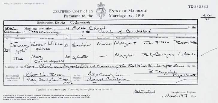 Capt Robert William Brisco Amp Mary Cunningham Marriage Certificate